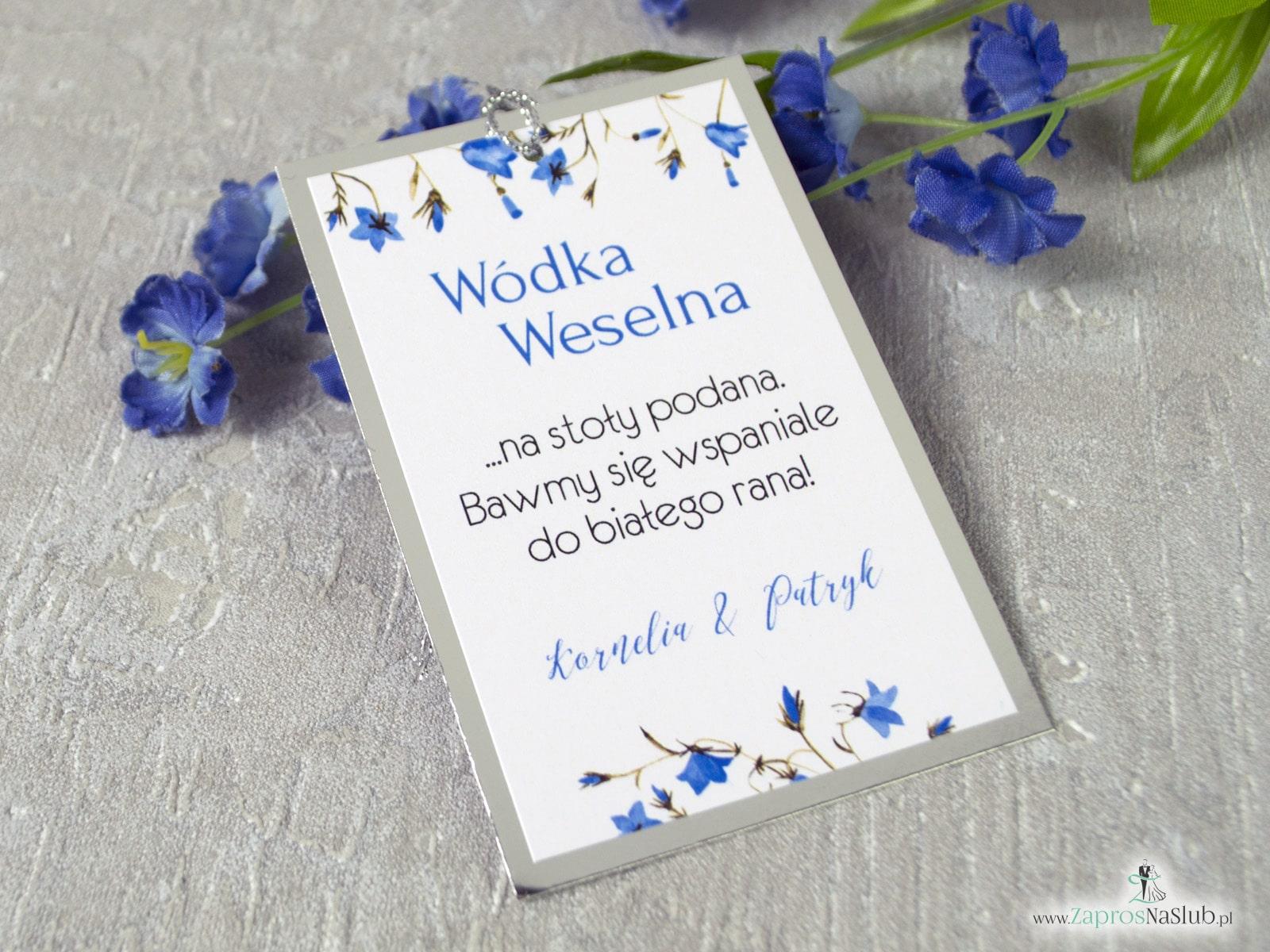 Eleganckie zawieszki na alkohol z kwiatami niebieskich dzwonków papieru z efektem lustra. ZAW-124-1