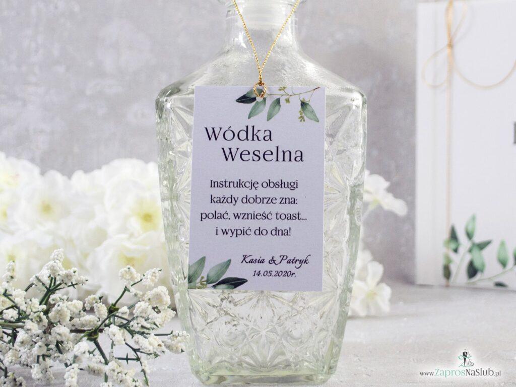 Zawieszka na wódkę, wódka weselna, zielone liście, gałązki, rustykalny styl ZAW-115 -min