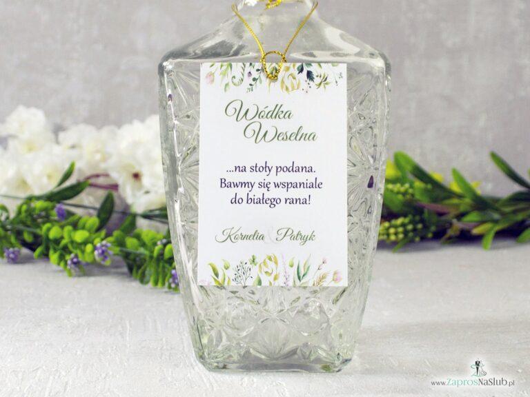 ZaprosNaSlub - Zaproszenia ślubne, personalizowane, boho, rustykalne, kwiatowe księga gości, zawieszki na alkohol, winietki, koperty, plany stołów - Rustykalna zawieszka na alkohol, botaniczna z liśćmi w różnych odcieniach. ZAW-123-2