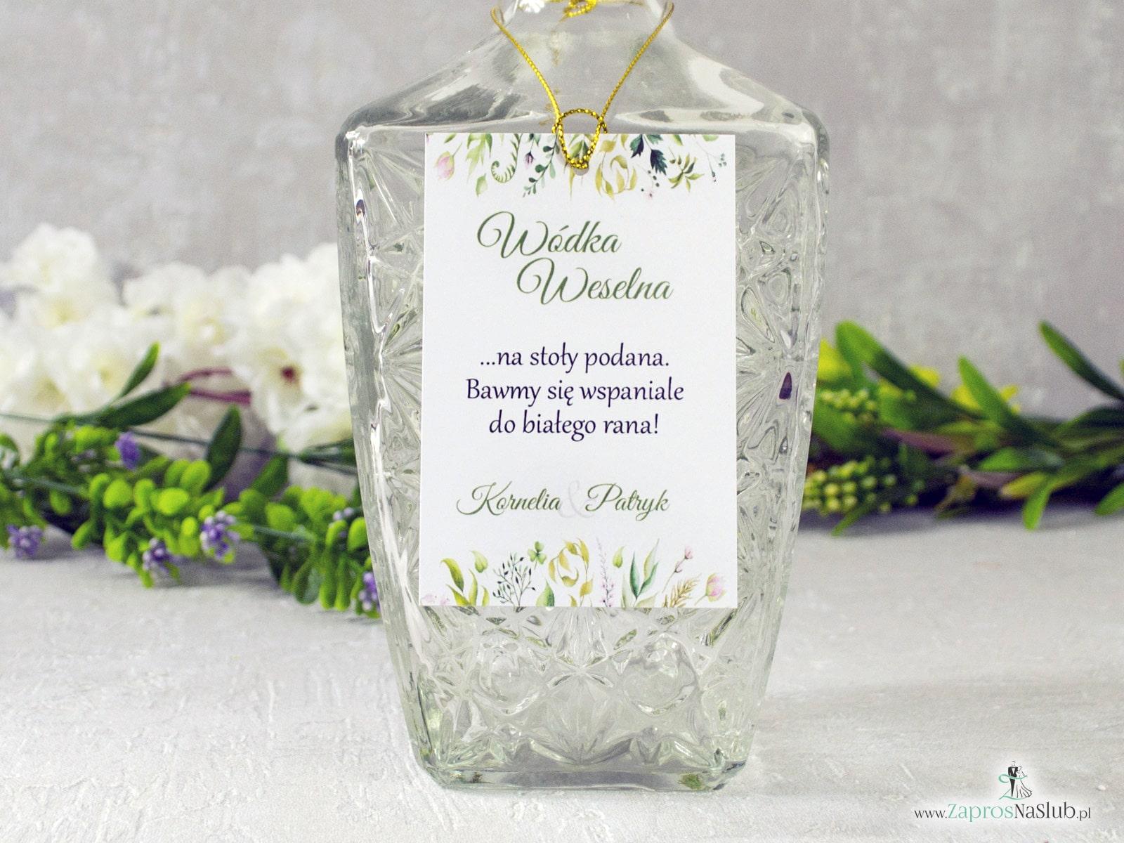 Rustykalna zawieszka na alkohol, botaniczna z liśćmi w różnych odcieniach. ZAW-123-2