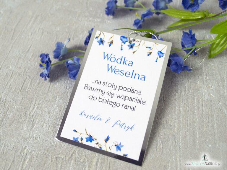 Zawieszki na alkohol na srebrnym papierze z efektem lustra i niebieskimi kwiatami dzwonków, srebrny sznurek ZAW-124-1-min