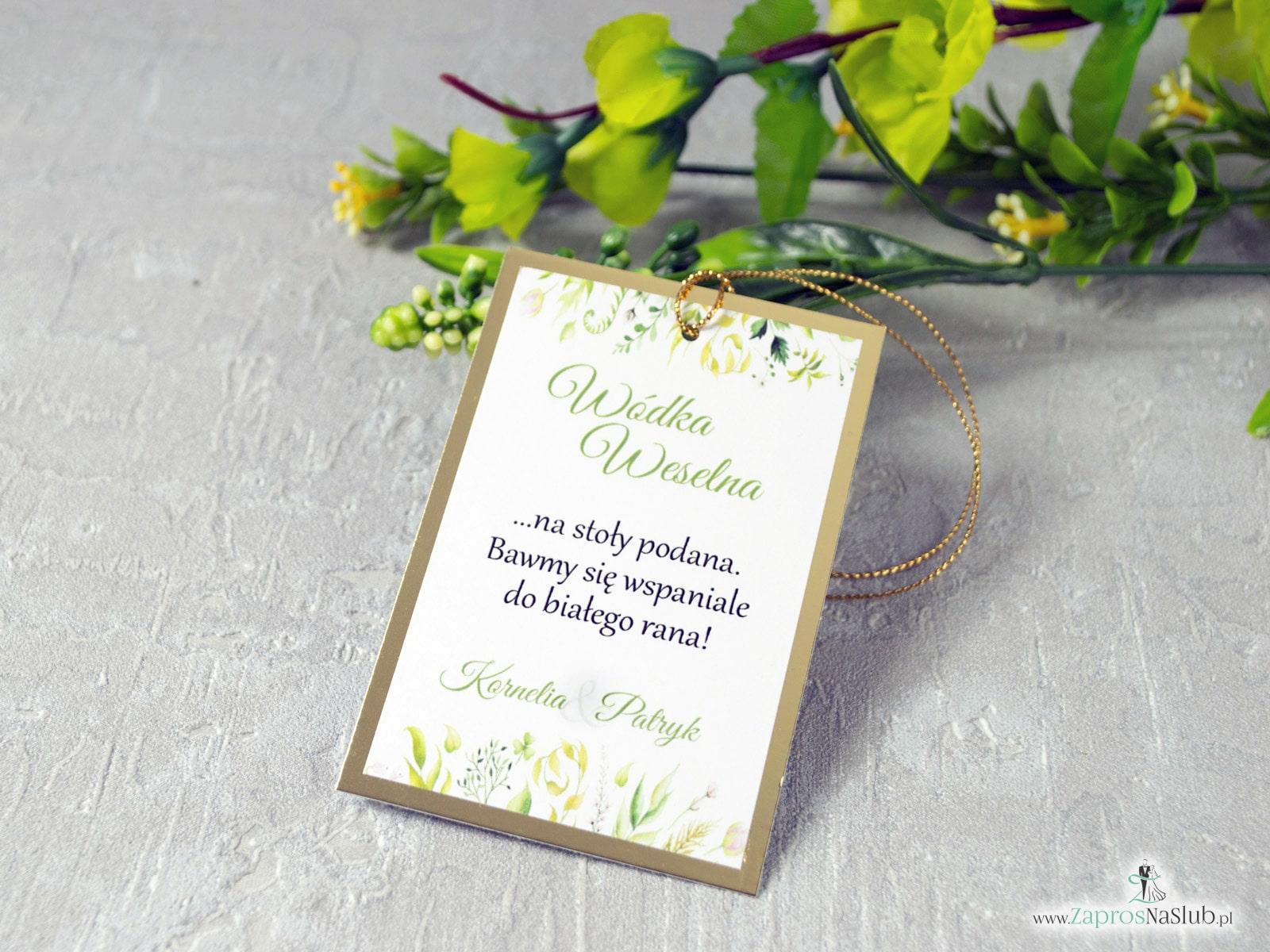 Eleganckie zawieszki na alkohol w stylu rustykalnym z liśćmi w różnych odcieniach na złotym papierze z efektem lustra. ZAW-123-1