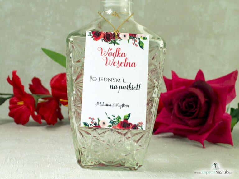 ZaprosNaSlub - Zaproszenia ślubne, personalizowane, boho, rustykalne, kwiatowe księga gości, zawieszki na alkohol, winietki, koperty, plany stołów - Zawieszka na alkohol z czerwonymi różami. ZAW-114-2
