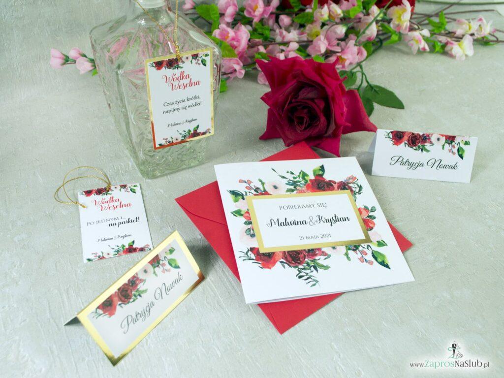 Zestaw kwiatowy na ślub z czerwonymi różami, na złotym papierze z efektem lustra, modne ZAP-114-min