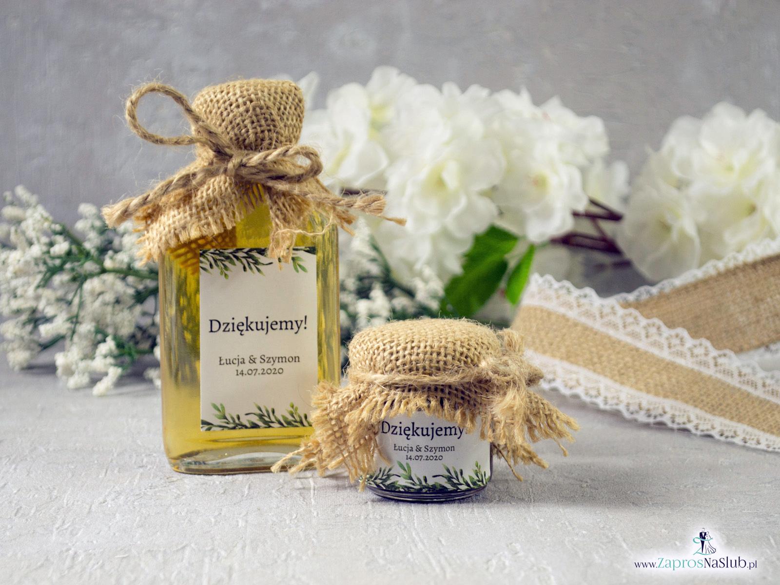 SŁOICZEK NA MIÓD LUB DŻEM Z ETYKIETĄ W STYLU RUSTYKALNYM Z TAŚMĄ JUTOWĄ ORAZ SZNURKIEM EKO - Zaproszenia ślubne ZaprosNaSlub