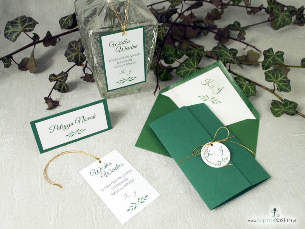 Zestaw zaproszeń ślubnych, winietki, zawieszki na alkohol butelkowa zieleń, ciemna zieleń ZAP-125-min