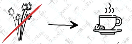 rebus ślubny piktogram - zamiast kwiatów kawa