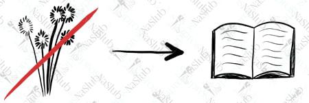 rebus ślubny piktogram - zamiast kwiatów książka