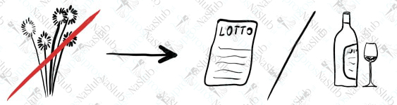 rebus ślubny piktogram - zamiast kwiatów kupon lotto totolotek lub wino
