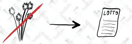 rebus ślubny piktogram - zamiast kwiatów kupon lotto totolotek
