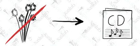 rebus ślubny piktogram - zamiast kwiatów płyta cd z muzyką film