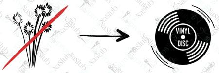 rebus ślubny piktogram - zamiast kwiatów płyta vinylowa (winylowa)