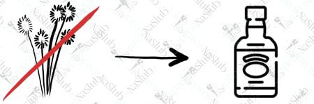 rebus ślubny piktogram - zamiast kwiatów whisky