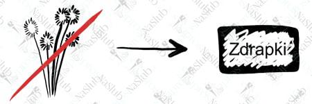 rebus ślubny piktogram - zamiast kwiatów zdrapki