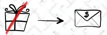 rebus ślubny piktogram - zamiast prezentu pieniądze