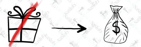 rebus ślubny piktogram - zamiast przentu pieniądze