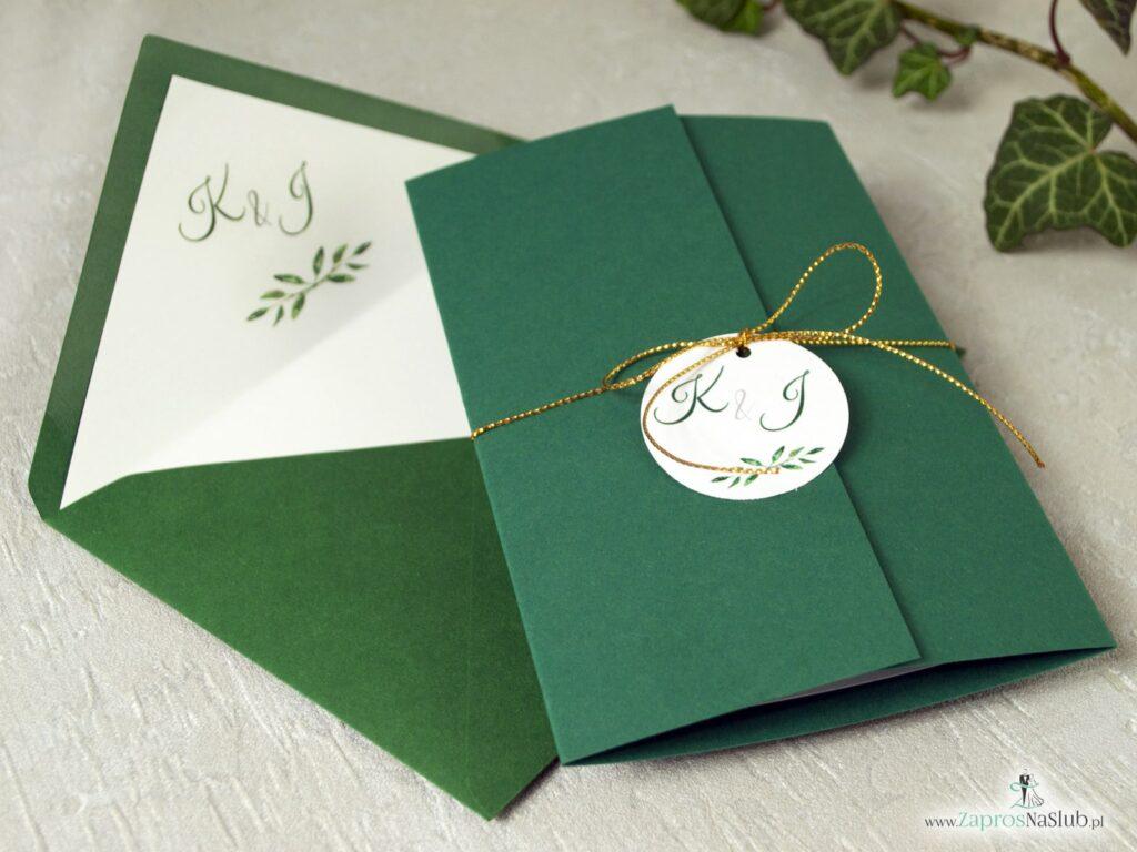 zaproszenia na ślub zielone eleganckie, z motywem zielonych listków ZAP-125-min