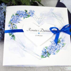 zaproszenie ślubne, geometryczne serce z kwiatami hortensji ZAP-41-11-min