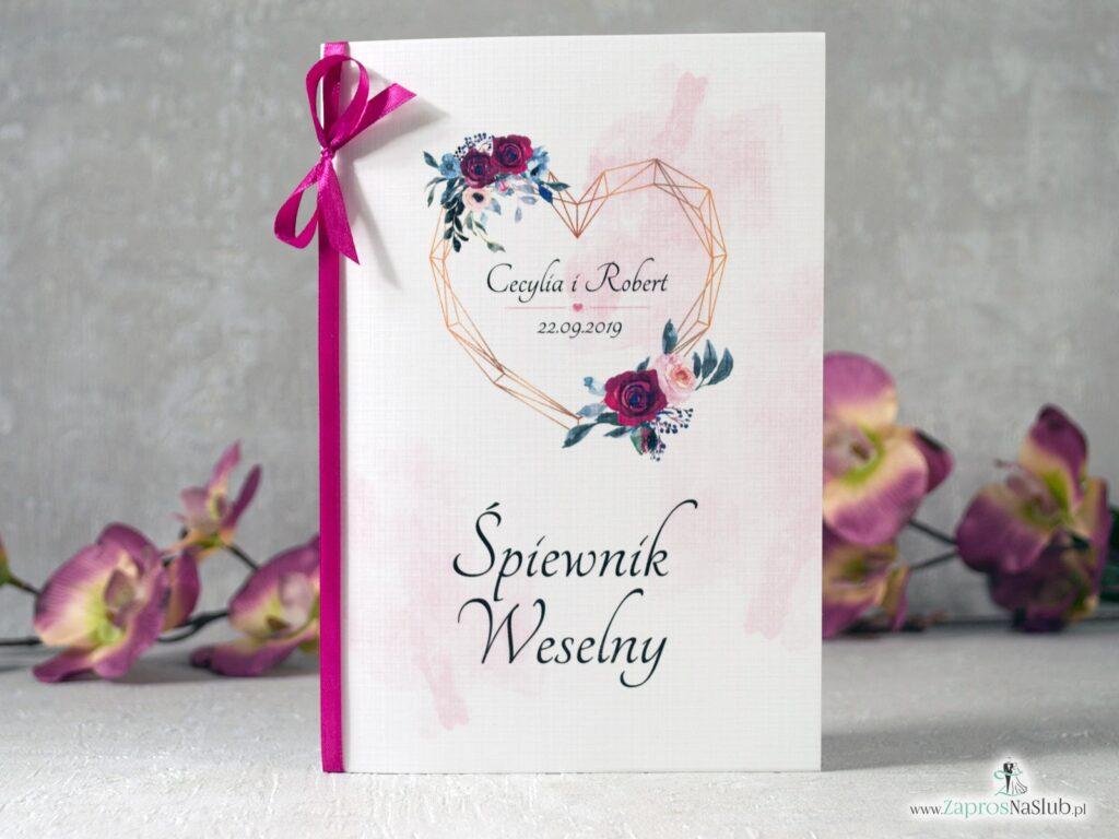 Śpiewnik weselny z geometrycznym sercem i bordowymi oraz różowymi różami SPW-41-06
