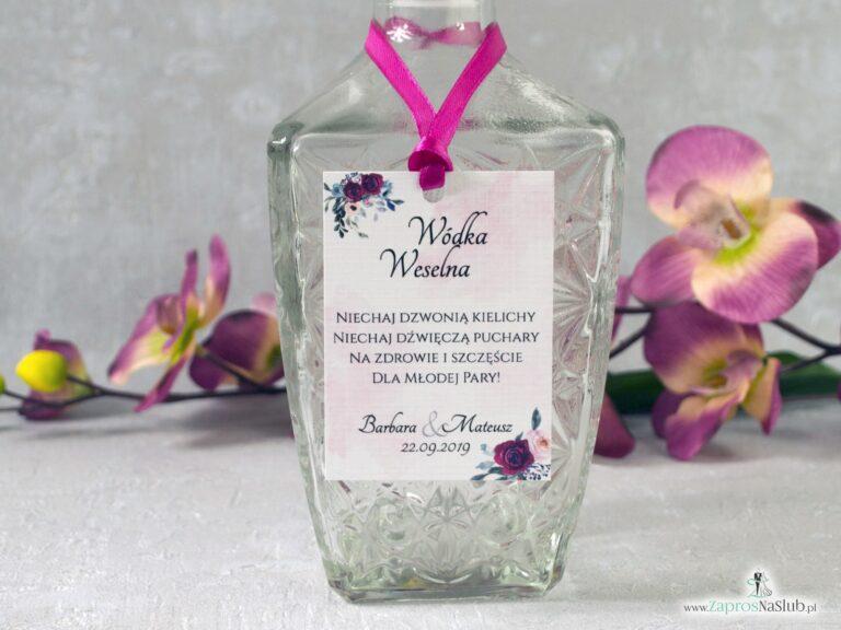 Zawieszka na alkohol z bordowymi i różowymi kwiatami róży. ZAW-41-06 - ZaprosNaSlub