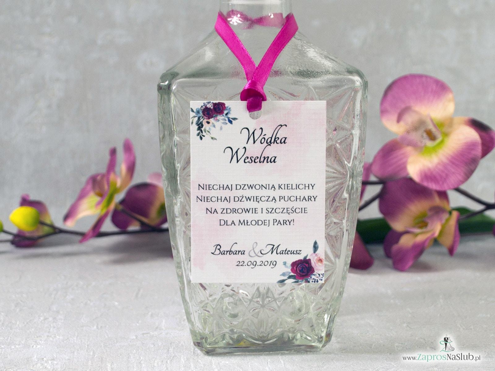 Zawieszka na alkohol z bordowymi i różowymi kwiatami róży. ZAW-41-06