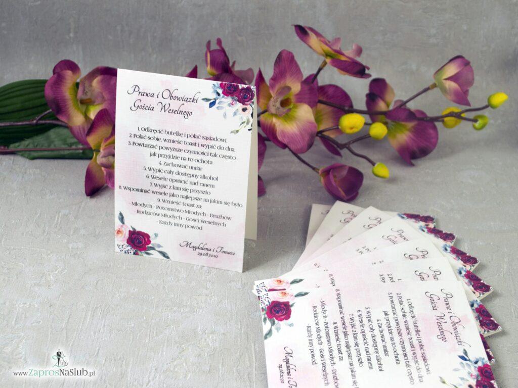 Obowiązki gościa weselnego z motywem róż w kolorze bordowym i różowym na delikatnym tle. PiOGW-41-06-min