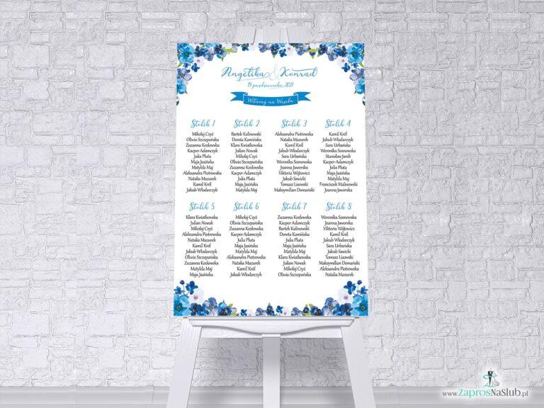 Plan stołów z niebieskimi kwiatami w formie plakatu lub tablicy PCV 5mm. PSDP-35-04 - ZaprosNaSlub