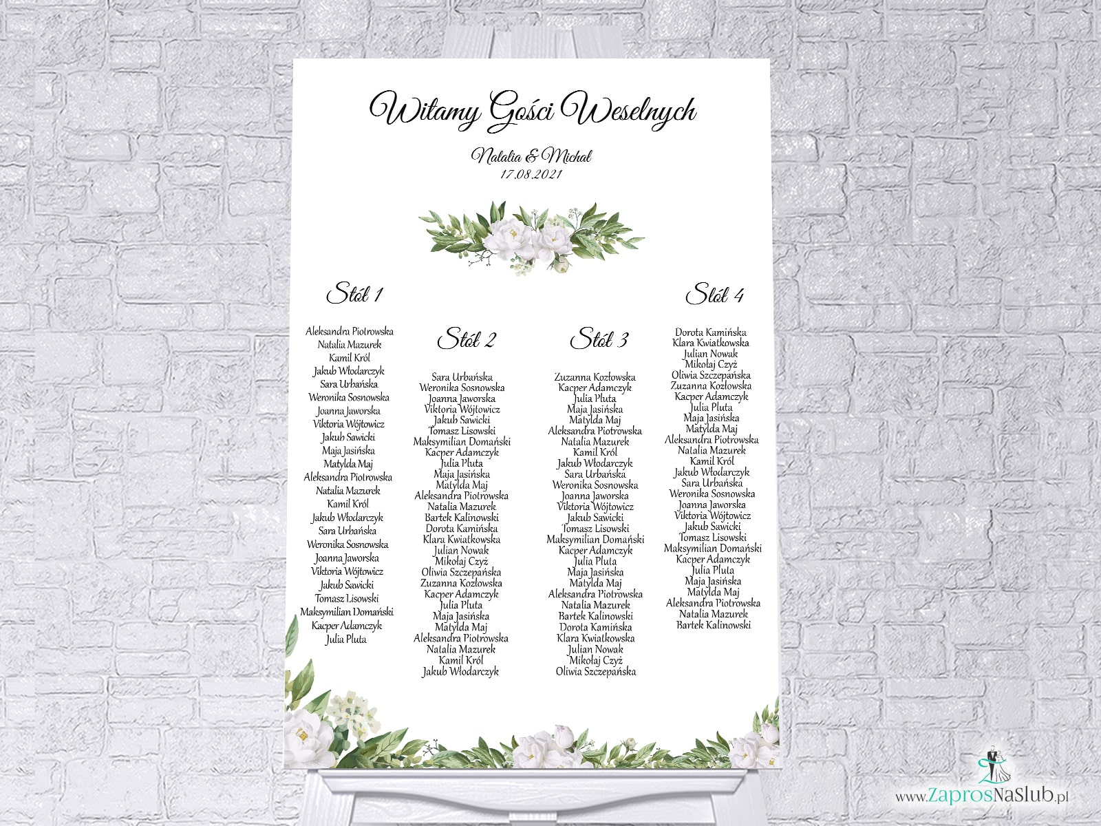 Plan stołów z białymi kwiatami i zielonymi liśćmi w formie plakatu lub tablicy PCV 5mm. PSDP-127
