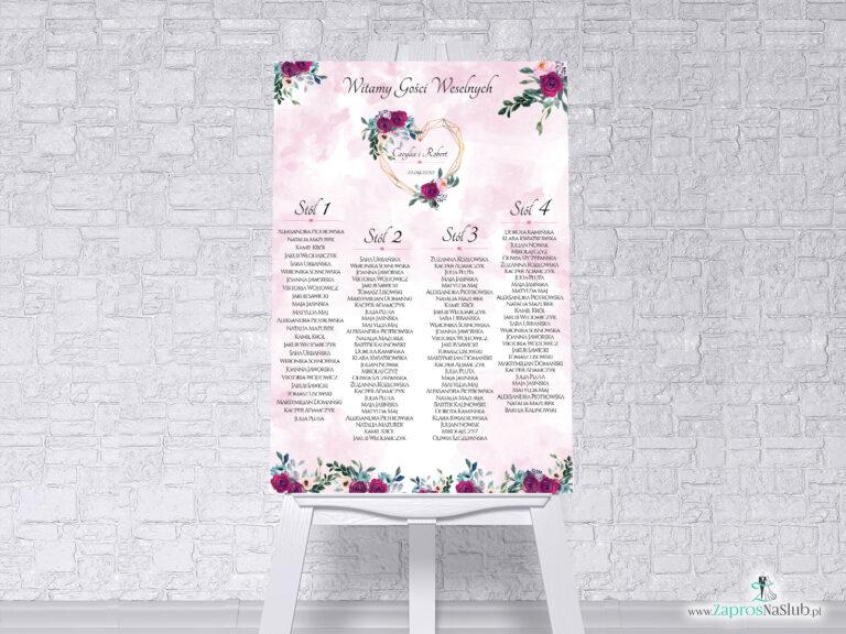 Plan stołów z geometrycznym sercem oraz bordowymi i różowymi kwiatami na delikatnym tle w formie plakatu lub tablicy PCV 5mm. PSDP-41-06 - ZaprosNaSlub