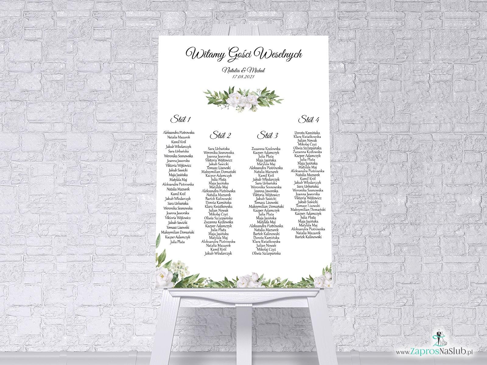 Plan stołów z białymi kwiatami i zielonymi liśćmi w formie plakatu lub tablicy PCV 5mm. PSDP-127 - Zaproszenia ślubne ZaprosNaSlub