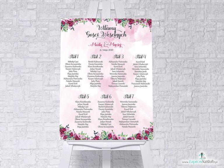 Plan stołów z kwiatami piwonii w formie plakatu lub tablicy PCV 5mm. PSDP-38-04 - ZaprosNaSlub