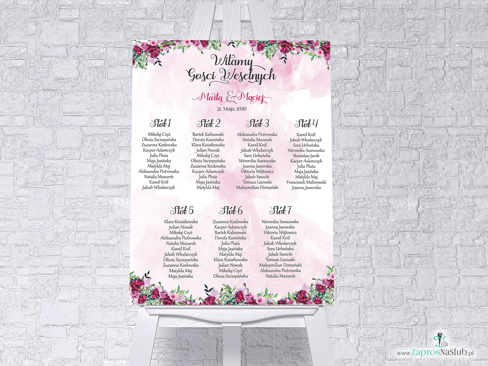 Plan stołów z kwiatami piwonii w formie plakatu lub tablicy PCV 5mm. PSDP-38-04 - Zaproszenia ślubne ZaprosNaSlub