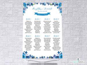 Plan stołów z niebieskimi kwiatami w formie plakatu lub tablicy PCV 5mm. PSDP-35-04
