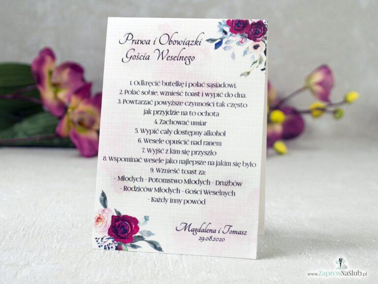 Prawa i Obowiązki Gościa Weselnego z motywem bordowych i różowych róż na delikatnym tle. Samostojące PiOGW-41-06-min