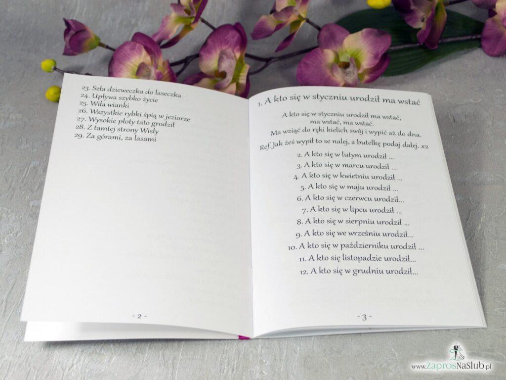 Weselny śpiewnik z sercem geometrycznym i kwiatami róży. SPW-41-06