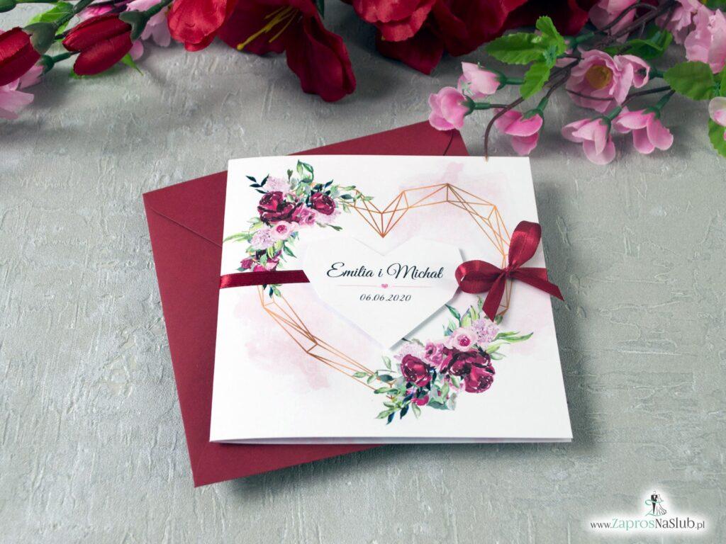 Ślubne zaproszenia geometryczne serce i kwiaty piwonii, modny wzór ZAP-41-08