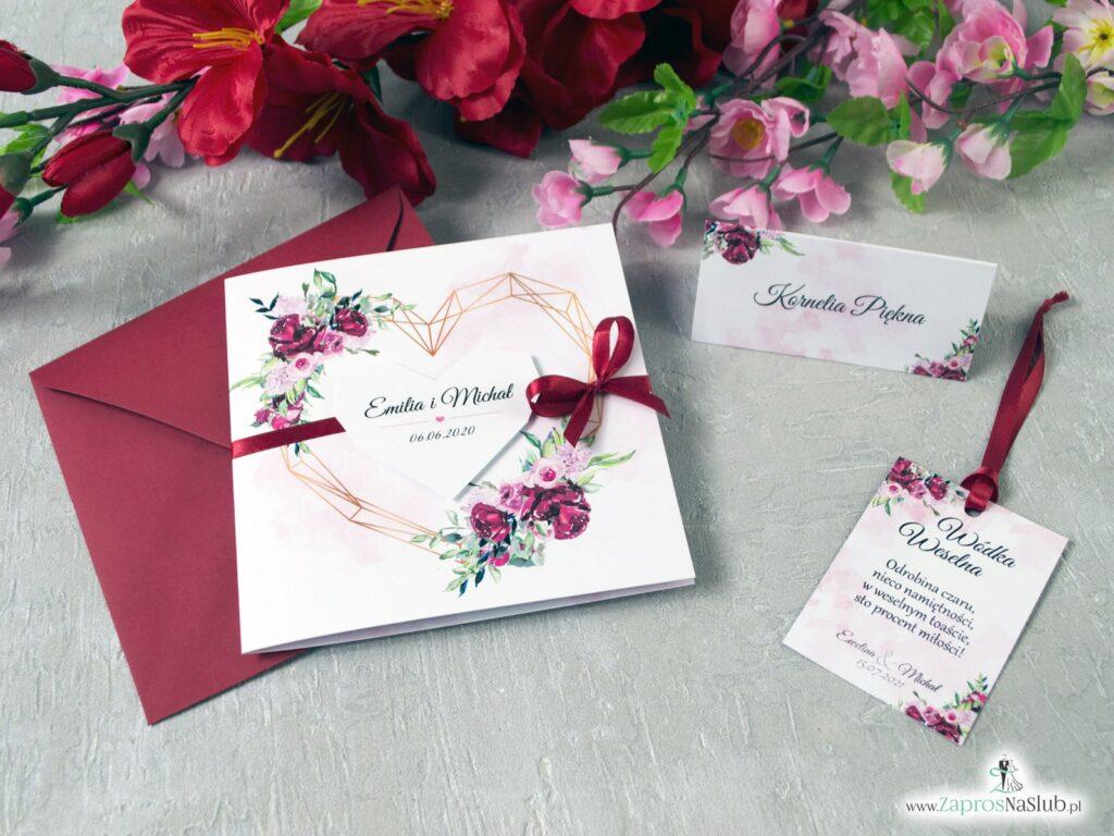 Ślubne zaproszenia geometryczne, serce, kwiaty piwonie ZAP-41-08