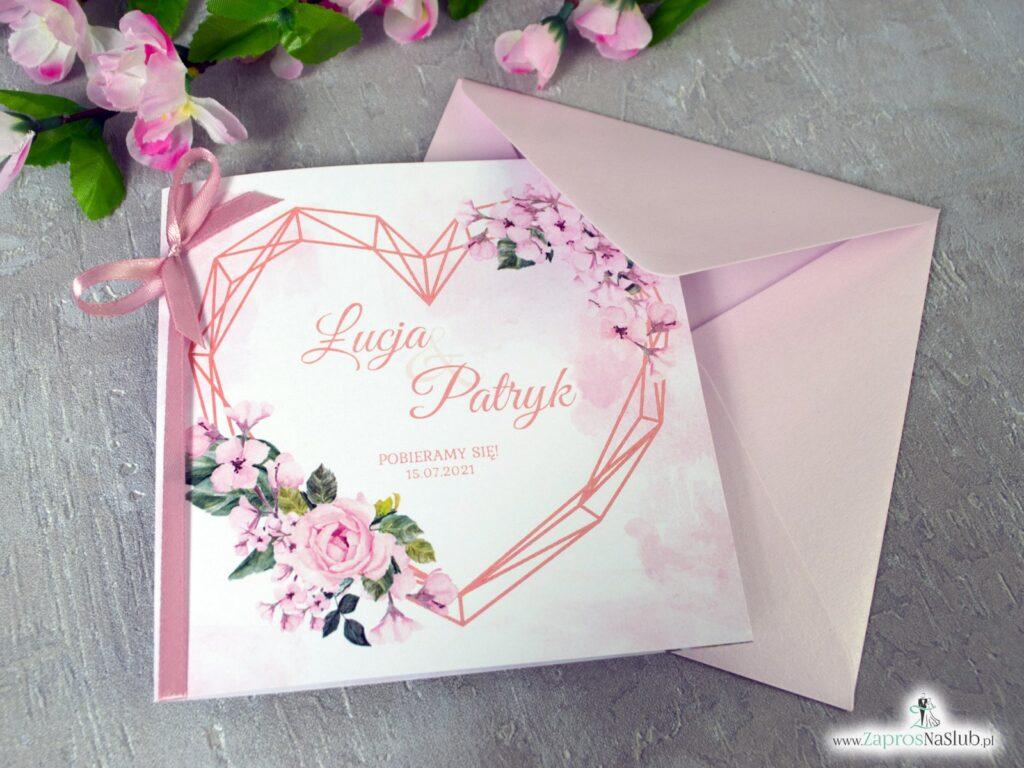 Ślubne zaproszenia kwiatowe z sercem geometrycznym i różową wstążką ZAP-41-23-min