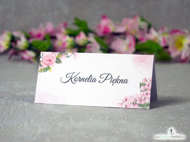 Kwiatowe winietki ślubne z różowymi kwiatami róży WIN-41-23-min