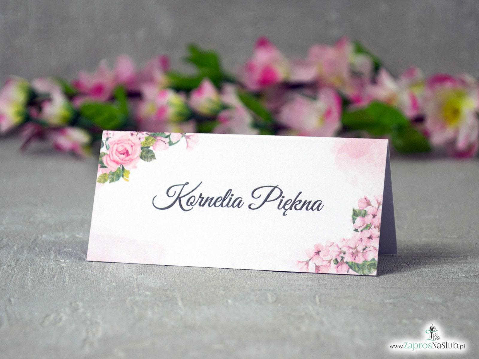 Modne winietki z różowymi kwiatami i delikatnym tłem. WIN-41-23