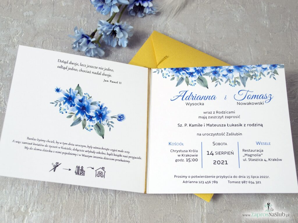 Modne zaproszenia ślubne geometryczne z piórkiem, serce, niebieskie kwiaty ZAP-41-22