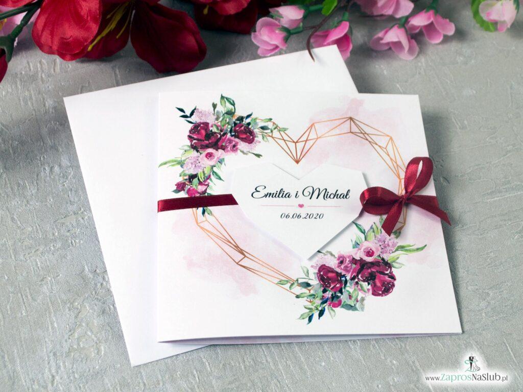 Modne zaproszenia ślubne z sercem i kwiatami piwonii, geometryczne ZAP-41-08