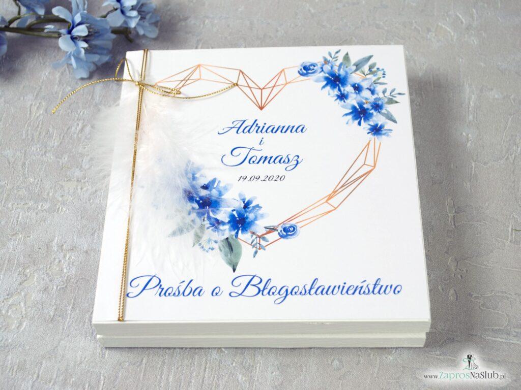 Prośba o błogosławieństwo rodziców ślub, niebieskie kwiaty, geometryczne serce, białe piórko POB-41-22