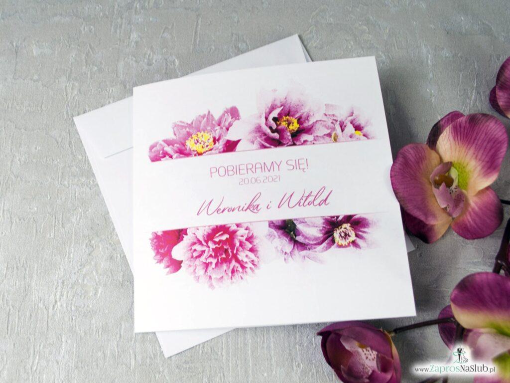 Różowe zaproszenia ślubne z kwiatkami piwonii ZAP-39-01-min