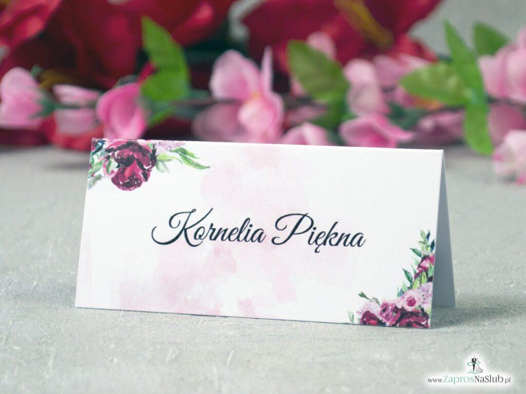 Winietki ślubne kwiatowe, modne piwonie WIN-41-08