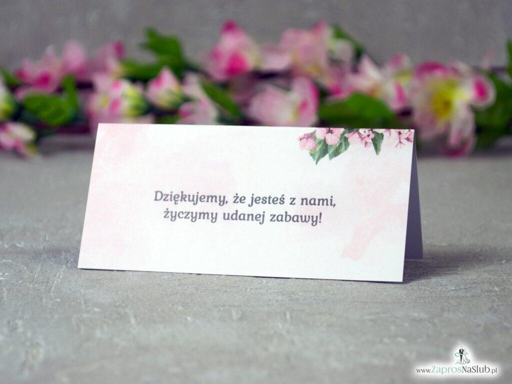 Winietki ślubne z różowymi kwiatami róży, modne, geometryczne WIN-41-23-min