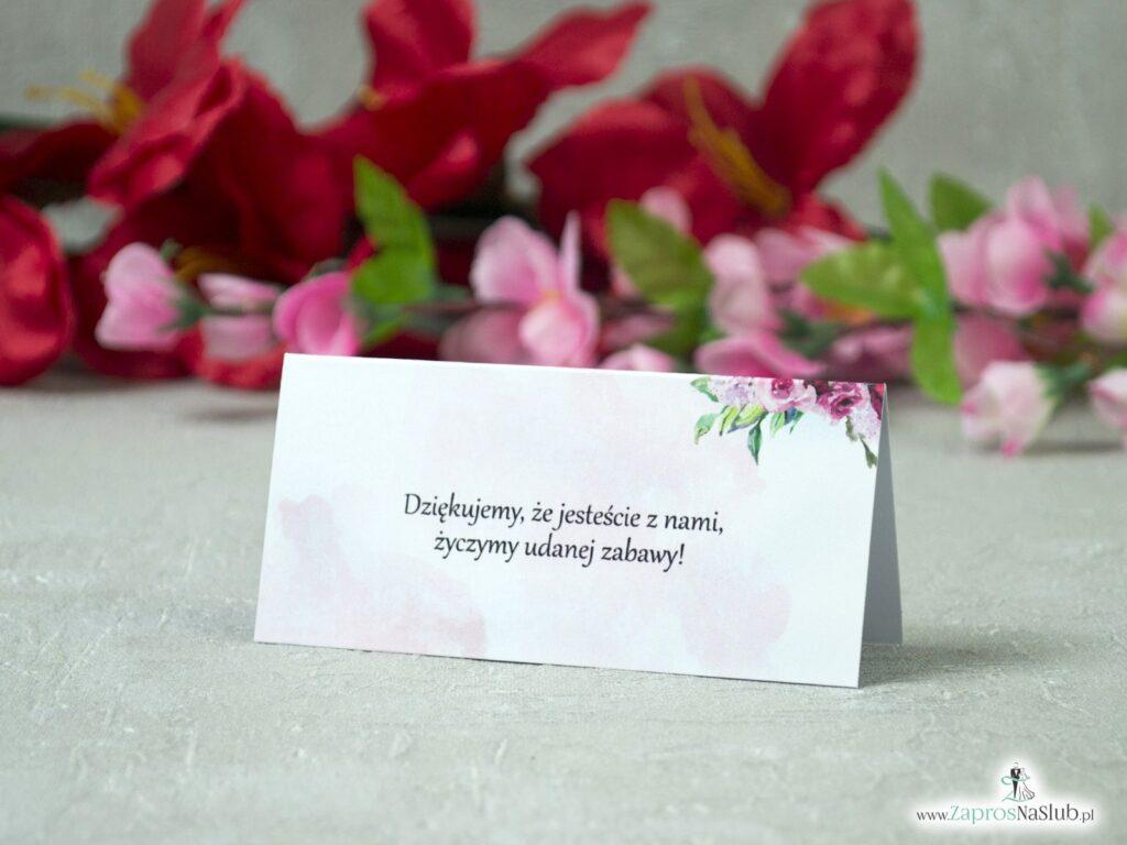 Winietki na stół, ślubne, dziękujemy, że jesteście z nami. Kwiaty piwonie WIN-41-08