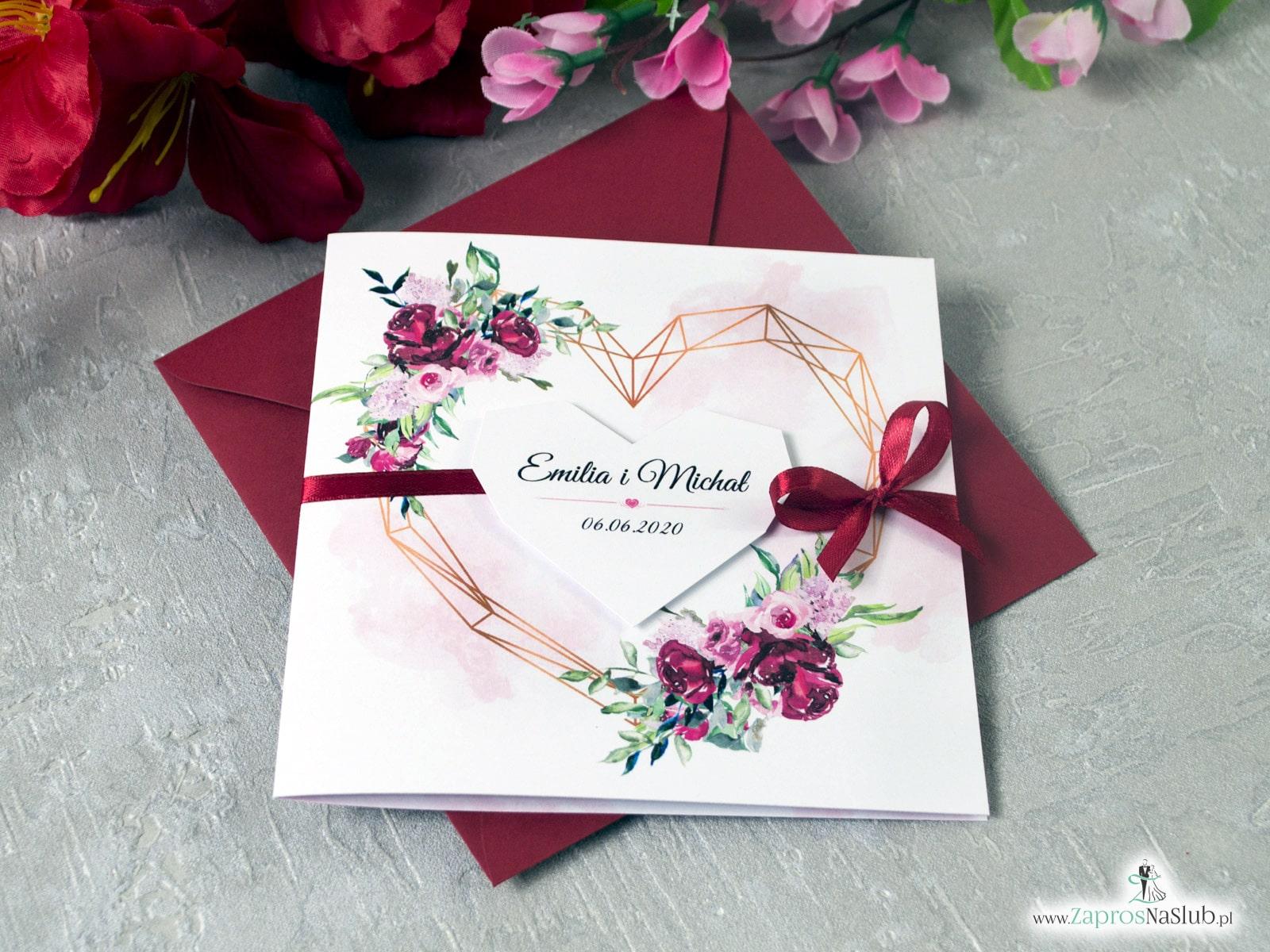 Zaproszenia ślubne, geometryczne serce, kwiaty piwonie, personalizowane, modne ZAP-41-08