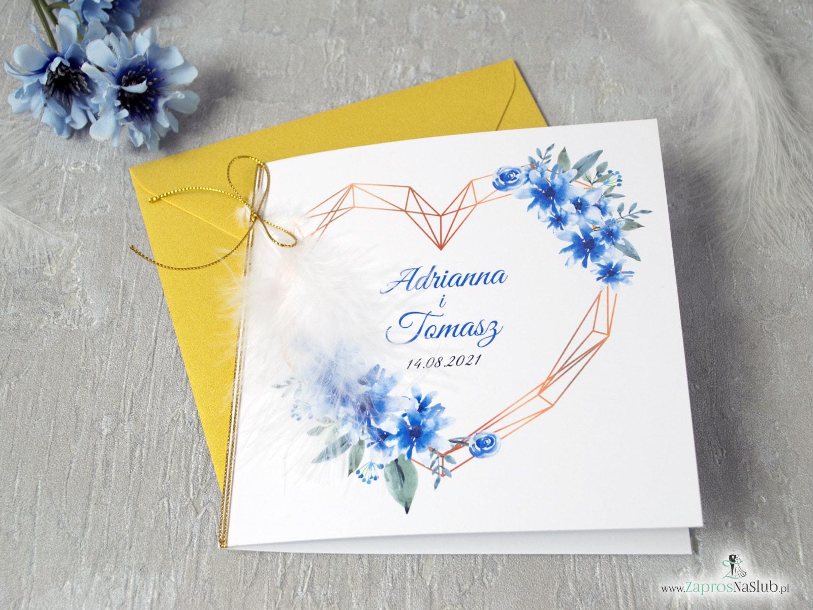 Zaproszenia ślubne boho z sercem, białe piórko niebieskie kwiaty, boho ZAP-41-22