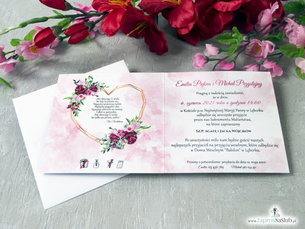 Zaproszenia ślubne kwiatowe z geometrycznym sercem i kwiatami piwonii ZAP-41-08